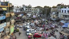 New Delhi Pahar Ganj market top view time lapse Stock Footage