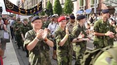 Swedish army clapping at Gay Pride Parade Stock Footage
