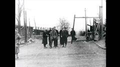WW2 - German Labor Camp - US - Visit 03 - Survivors Stock Footage