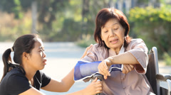 Young asian is taking care the senior woman ,Thailand Stock Footage