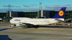 Lufthansa aircraft at frankfurt airport Stock Footage