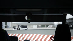 Travailing in Airport bus Stock Footage