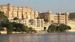 Pichola lake and palaces in Udaipur India Stock Footage