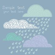 Rainy autumnal pattern with clouds Stock Illustration