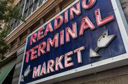 Stock Photo of Reading Terminal Market sign, Philadelphia, Pennsylvania