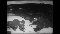WW2 - Normandy Atlantic Wall 02 - Animated Map Stock Footage