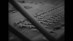 WW2 - US Air Force - Aircafts 17 - Flight Over Airfield Stock Footage