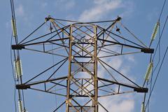 Power transmission pole - stock photo