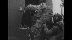 WW2 - US Air Force - D Day - Aircafts 06 - Paratroopers getting ready Stock Footage