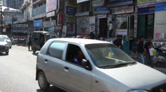 Traffic on indian street in Udaipur Stock Footage