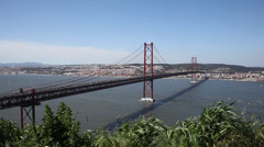Bridge in Lisbon Portugal Stock Footage