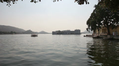 Pichola lake in Udaipur India - stock footage