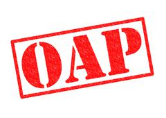 OAP rubber stamp - stock illustration