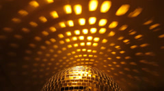 Disco ball golden background Stock Footage