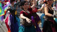 Belly dancers at Gay Pride Parade Stock Footage