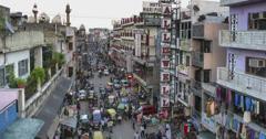 New Delhi Pahar Ganj market top view sunset time lapse 4k Stock Footage