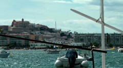 Europe Spain Balearic Ibiza towns and villages 065 harbor and old town Stock Footage