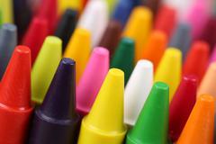 Crayons for painting for children in kindergarten Stock Photos