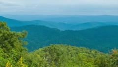 Stock Video Footage of Tilting-up from Lush Green Foliage to Layered Blue Ridge Mountains