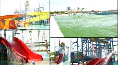 Splash fun aqua amusement park  multi screen lot of a fun and summer happines Stock Footage