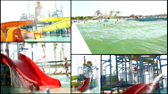Stock Video Footage of splash fun aqua amusement park  multi screen lot of a fun and summer happines