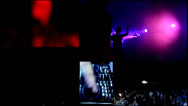 Stock Video Footage of foam  clubbing party dj,reflector vj lights , girls dancing - multiscreen