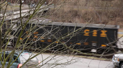 Passing Empty Coal Train Seen Through Branches of Tree Stock Footage