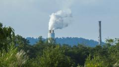 Asheville, NC Power Plant Amongst Green Nature Stock Footage