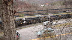 Empty Coal Train Passes Thru Hills of West Virginia Stock Footage
