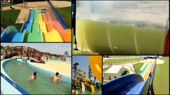 amusement park  multi screen lot of a fun and summer happines - stock footage