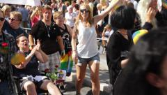 Person in wheelchair at Gay Pride Parade - stock footage