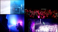 Stock Video Footage of  party dj,reflector vj lights ,foam  clubbing girls dancing - multiscreen