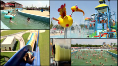amusement aqua  park  multi screen lot of a fun and summer happines - stock footage