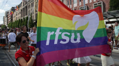 RFSU at Gay Pride Parade - stock footage