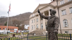 Statue to Lost Miners at Boone County Courthouse, Madison WV Stock Footage