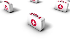 High angle arc pull back revealing endless First Aid Kits  Stock Footage