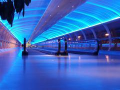 airport walkway - stock photo