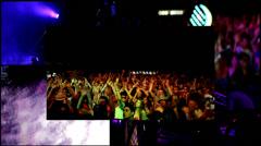 Foam  clubbing party dj,reflector vj lights , girls dancing - multiscreen Stock Footage