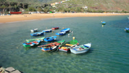 Stock Video Footage of Fisihing boats on Teresitas beach. Tenerife.