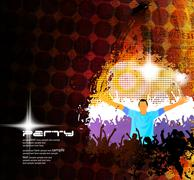 Music club background for disco dance international event - stock illustration