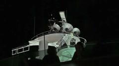 Cruise ship radar spin passengers night HD 0766 Stock Footage