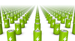 Dolly forward over many Batteries to none (Green) Stock Footage