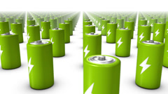 Sweeping across endless Batteries front (Green) Stock Footage