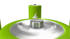 Dolly back diagonally from single Battery revealing many (Green) Stock Footage