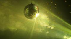 Multicolor disco ball in smoke - stock footage