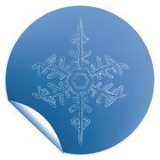 blue snowflake label - stock illustration