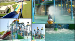 summer aqua amusement park  multi screen lot of a fun and summer happines - stock footage