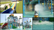Stock Video Footage of summer aqua amusement park  multi screen lot of a fun and summer happines