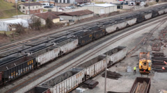 West Virginia Town Next to Rail Yard of Empty Coal Railcars Stock Footage
