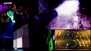 Stock Video Footage of dj foam  clubbing party ,reflector vj lights , girls dancing - multiscreen